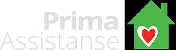 Logo bestående av teksten Prima Assistanse i grått ved siden av et grønt hus med et rødt hjerte i sentrum.