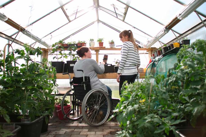Bilde av to kvinner i et drivhus omkranset av grønne planter. En kvinne sitter foran et bord i rullestol mens den andre kvinnen står oppreist.